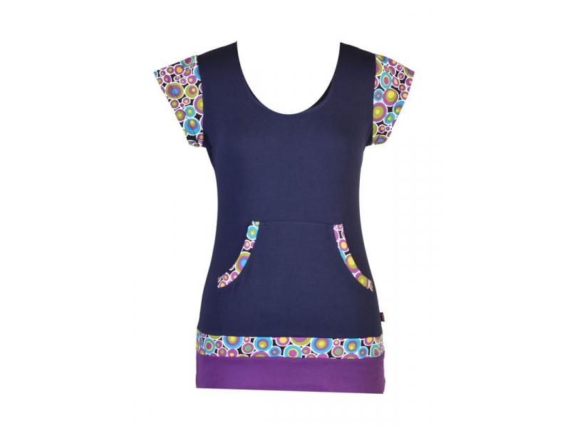 Tmavě modré tričko, kapsami a krátkým rukávem, Bubble print