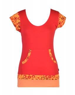 Červené tričko, kapsami a krátkým rukávem, Bubble print