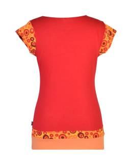 Červené tričko s kapucí, kapsami a krátkým rukávem, Bubble print