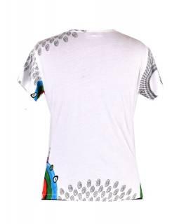 Bílé tričko s krátkým rukávem, Mandala potisk, kulatý výstřih