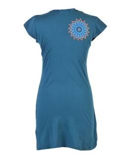 Krátké petrolejové šaty s krátkým rukávem, mandala design, atypický výstřih