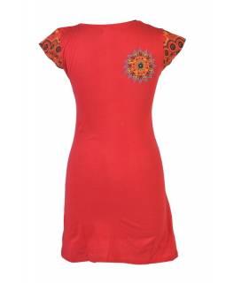 Červené šaty s krátkým rukávem, Peacock design, výšivka