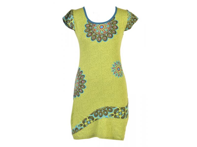 Modro-zelené šaty s krátkým rukávem, Peacock design, výšivka