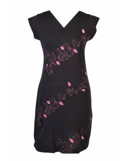"""Krátké černé šaty s krátkým rukávem a potiskem """"Leaves design"""", V výstřih"""