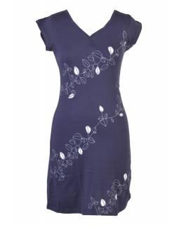 """Krátké modré šaty s krátkým rukávem a potiskem """"Leaves design"""", V výstřih"""