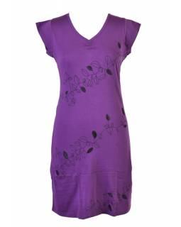 """Krátké fialové šaty s krátkým rukávem a potiskem """"Leaves design"""", V výstřih"""
