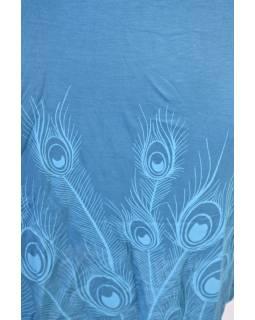 Modré šaty s límcem, bez rukávu, potisk Peacock