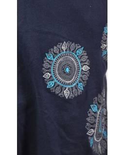 Tmavě modré šaty s kapucí/límcem, bez rukávu, potisk a výšivka mandaly