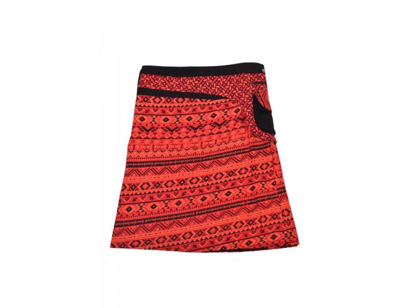 Krátká červená sukně zapínaná na patentky, barevný potisk, kapsa