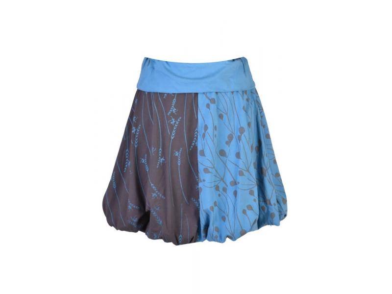 Krátká balonová sukně s potiskem mravenců, šedo-modrá, elastický pas
