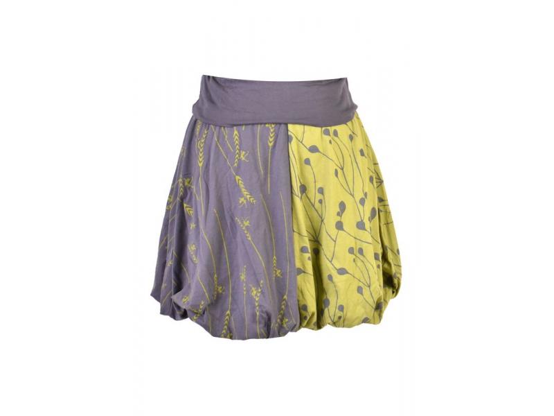 Krátká balonová sukně s potiskem mravenců, šedo-zelené, elastický pas