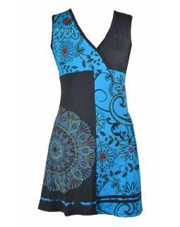 Černo-tyrkysové šaty bez rukávu s květinovým potiskem a výšivkou