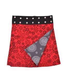 Oboustranná sukně s potiskem květin a mandal, černo-červená, zapínání na cvoky