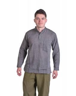 Pruhovaná pánská košile-kurta s dlouhým rukávem a kapsičkou, šedo-černá