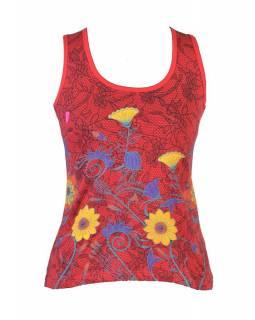 Červené tílko s potiskem, Lace design, barevné květiny
