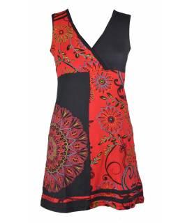 Černo-červené šaty bez rukávu s květinovým potiskem a výšivkou