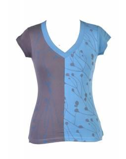 Šedo-modré tričko s krátkým rukávem a potiskem mravenců, V výstřih