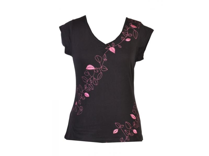 Černo-růžové tričko s krátkým rukávem, Leaves design, výšivka, V výstřih