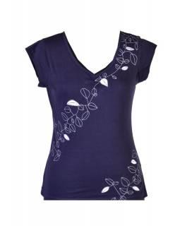 Tmavě modré tričko s krátkým rukávem, Leaves design, výšivka, V výstřih