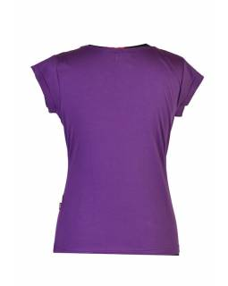 Fialové tričko s krátkým rukávem, Leaves design, výšivka, V výstřih