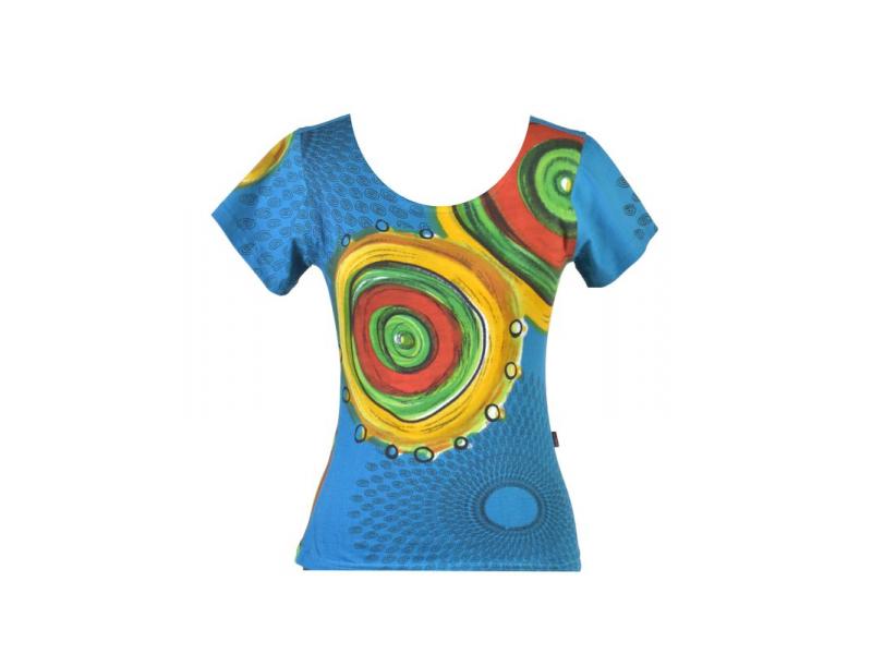 Tyrkysové tričko s krátkým rukávem, Mandala potisk, kulatý výstřih