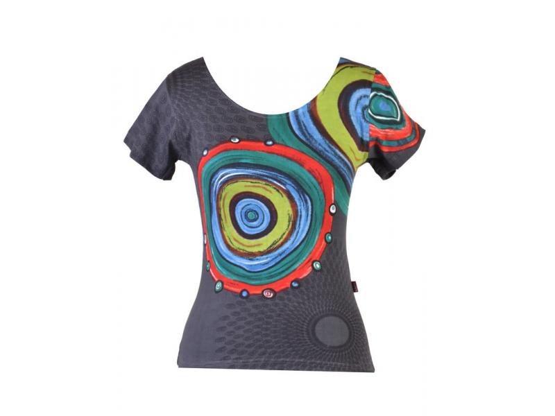 Šedé tričko s krátkým rukávem, Mandala potisk, kulatý výstřih