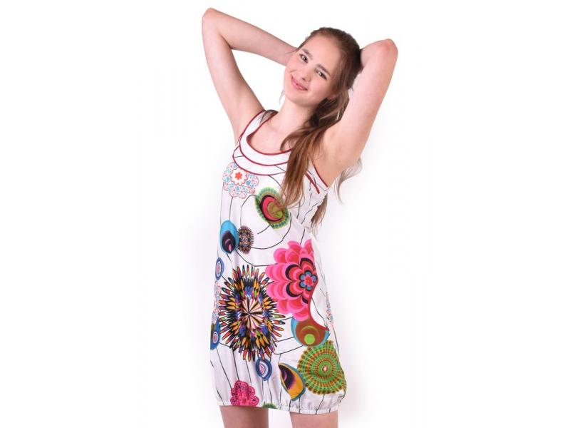 """Bílé šaty bez rukávu """"Wanda"""" s barevnými květinami, kapsy"""