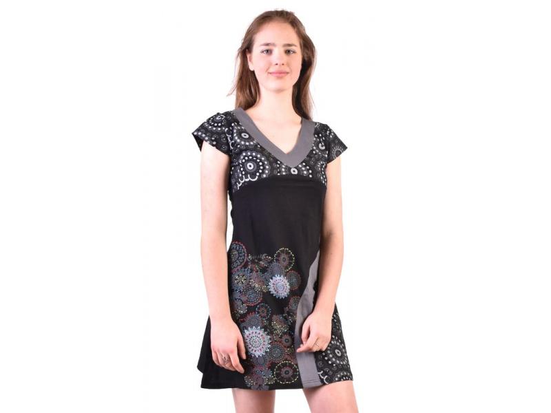 Černo-šedé šaty s krátkým rukávem a potiskem mandal, výšivka