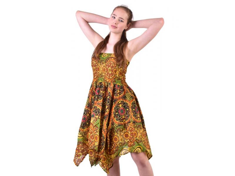 Dlouhé žluté šaty s cípy na ramínka, květinový potisk, žabičkování