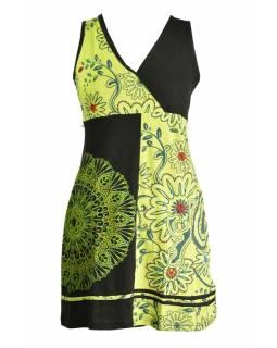 Černo-zelené šaty bez rukávu s květinovým potiskem a výšivkou