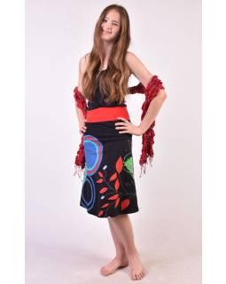 """Černá sukně ke kolenům """"Jamy"""" s barevným potiskem, pružný pas"""