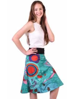 """Tyrkysová sukně ke kolenům """"Jamy"""" s barevným potiskem, pružný pas"""