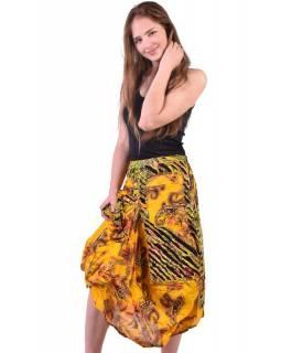 Dlouhá žlutá balonová sukně s kapsami, kombinace tisků, zip