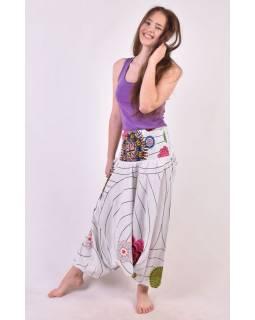 """Bílé turecké kalhoty-overal-halena 3v1 """"Anita"""", barevné květiny, žabičkování"""