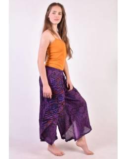 """Dlouhé fialové balonové kalhoty se sukní """"Patchwork design"""", elastický pas"""