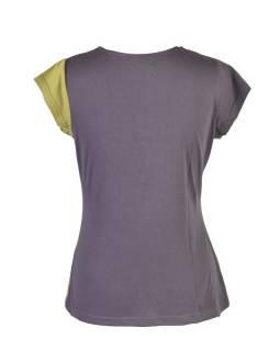 Šedo-zelené tričko s krátkým rukávem a potiskem mravenců, V výstřih