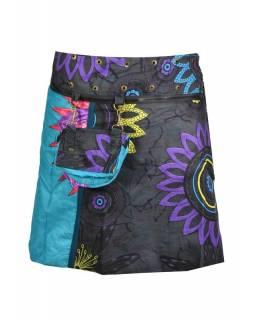 """Krátká tyrkysovo-šedá sukně """"Flower Mandala"""", zapínání na patentky a kapsička"""