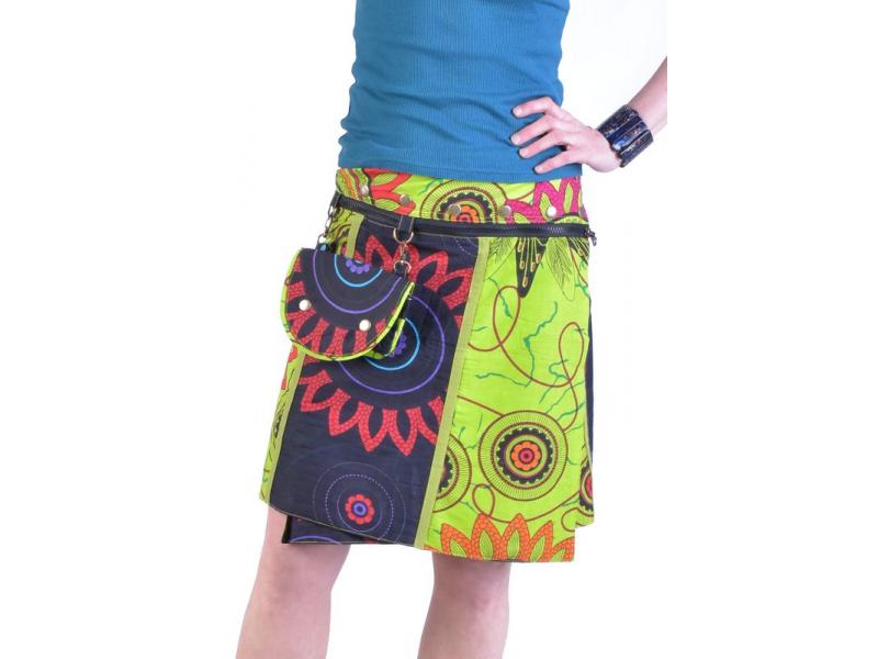 """Krátká šedo-zelená oboustranná sukně """"Flower Mandala"""", zapínání na patentky"""