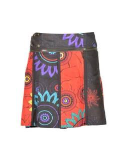 """Krátká šedo-červená oboustranná sukně """"Flower Mandala"""", zapínání na patentky"""