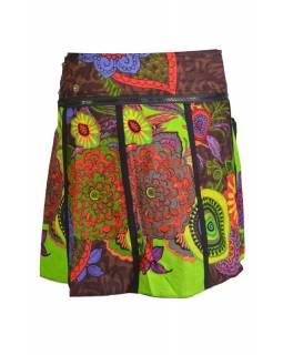 """Krátká zeleno hnědá sukně """"Eolia"""", zapínání na patentky a kapsička"""