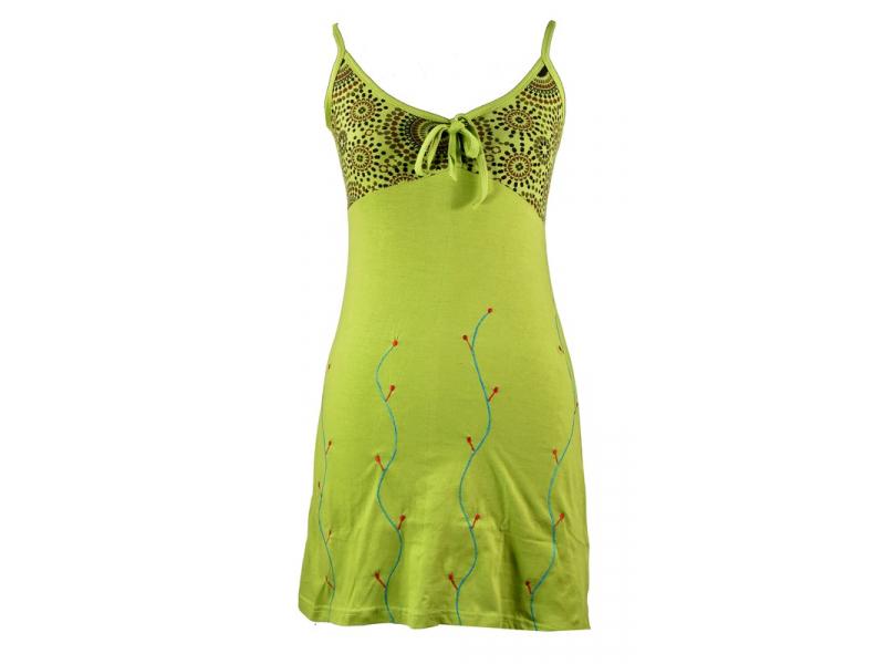 Limetkově zelené na ramínka s barevným potiskem a výšivkou, žabičkování