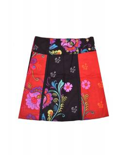 """Krátká sukně """"Flower"""", zapínání na patentky a kapsička"""