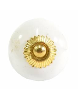 Malovaná porcelánová úchytka na šuplík, bílá, zlatý dekor, průměr 4cm