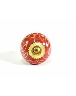 Malované porcelánové madlo na šuplík, červená, prům.4cm