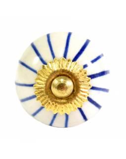Malované porcelánové madlo na šuplík, bílé s modrými proužky, průměr 3,7cm