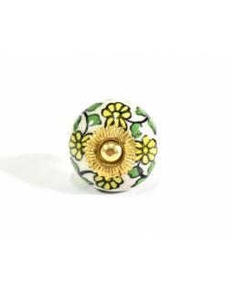 Malované porcelánové madlo na šuplík, květiny, prům.4cm