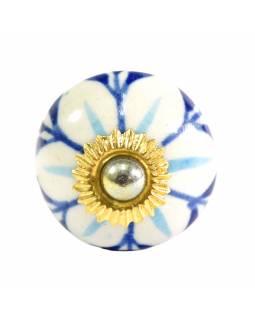 Malovaná porcelánová úchytka na šuplík, květiny, průměr 3cm