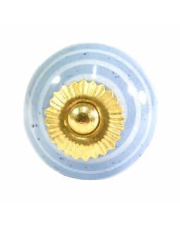 Porcelánové madlo na šuplík, světle modré se světlým proužkem, 3,7cm