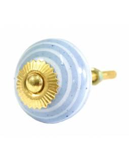 Porcelánová úchytka na šuplík, světle modrá se světlým proužkem, 3,7cm