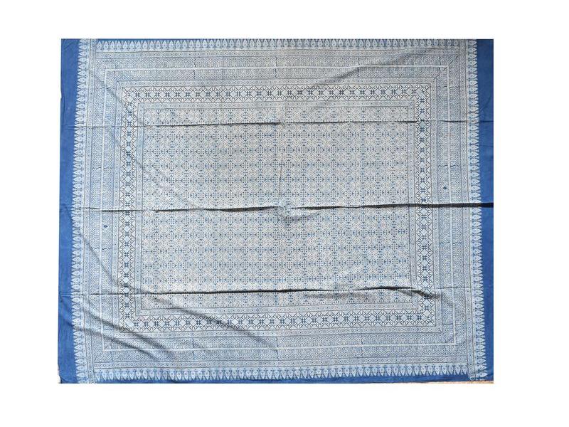 Přehoz na postel, block print, ruční práce, 220x270cm